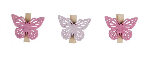 Holzklammerset Schmetterling, 6teilig in Tüte, rosatöne, 4cm