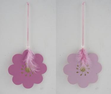 Holzhänger Blume mit Glitzer, rosa, 2 Stück, 13 x 13 x 0, 1 cm