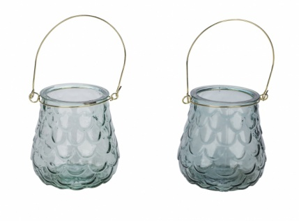 Glaswindlicht mit Henkel, hellblau / mint, 2 Stück, ?11, 5 cm / Höhe: 10cm