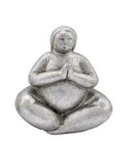 Yogadame sitzend, Kunststoff, silber, lackiert, 14, 5 x 9, 5 x 15cm