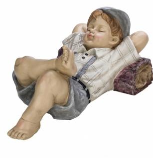 Große Kinderfigur, Junge, liegend, handbemalt, edler Kunststoff, 45 x 26, 5 x 20, 5cm