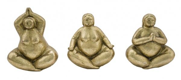 Yogadamen, sitzend, Kunststoff, gold, 3 Stück, 14, 5 x 9, 5 x 15 cm
