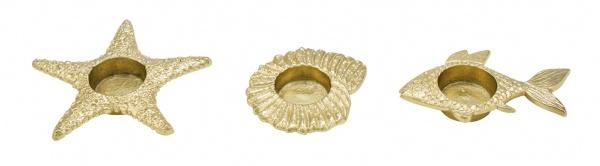 Metallteelicht, Fisch / Seestern / Schnecke, 3 Stück, Ø 9 cm / Höhe: 1, 5 cm