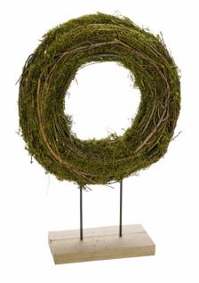 Naturkranz auf Sockel, grün / braun, 27 x 9 x 42 cm