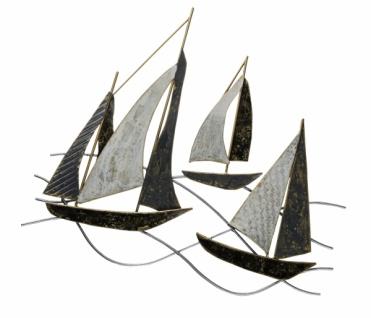 Wandbild Schiffe, schwarz / weiß, gold, Metall, 43 x 32, 5 x 4 cm