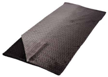 Premium Kuscheldecke, Flannel schwarz / grau 130 x 180cm