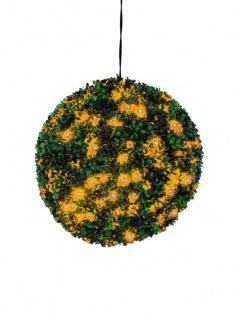 EUROPALMS Buchsbaumkugel mit orangenen LEDs, künstlich, 40cm