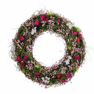 Naturkranz, mit rosa Blüten, Ø 30 cm