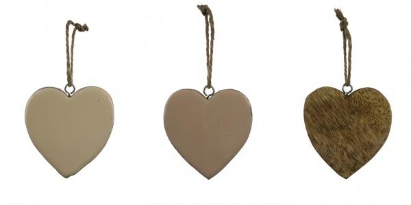 Holzhänger Herz, puder / beige, 3 Stück, 8 x 8 x 1 cm