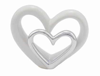 Porzellanherzen, silber / weiß