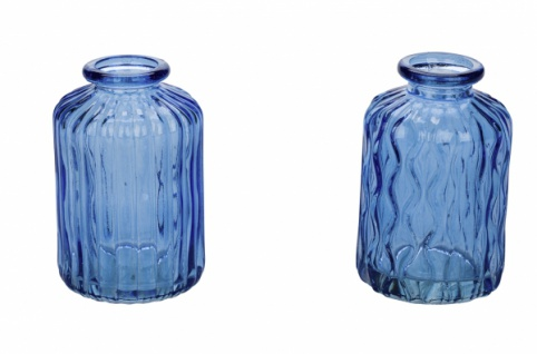 Glasvase, blau, 2 Stück, Ø 6, 5 cm / Höhe: 10 cm