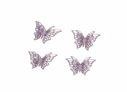 Schmetterling, Streu, rosa, 4 Stück, Metall, 6cm
