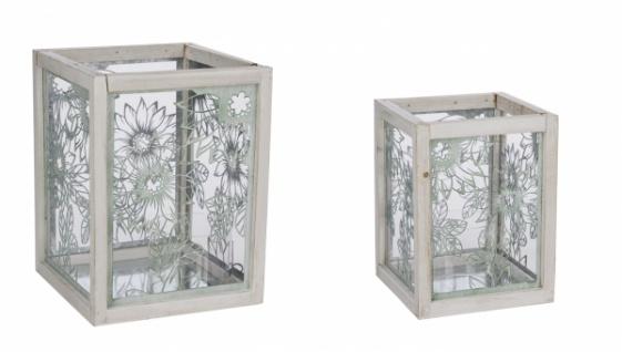 Metalllaternen-Set / 2 teilig, mit Glas, grün / weiß, handgefertigt, 26 x 26 x 35 cm