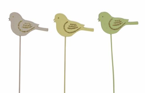 Holzstecker Vogel, gelb / grün / beige, 3 Stück, 7 x 0, 5 x 25 cm