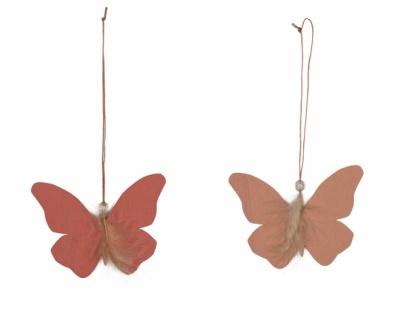 Holzhänger, Schmetterling mit Feder, 2 Stück, lachs, 13 x 22 cm