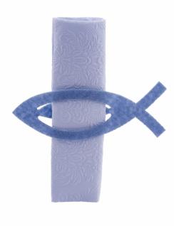 Serviettenhalter Fisch, 6-teiliges Set, Filz, blau, 14 x 5cm