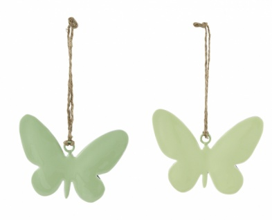 Metallhänger Schmetterling, 2 Stück, grün, 10 cm