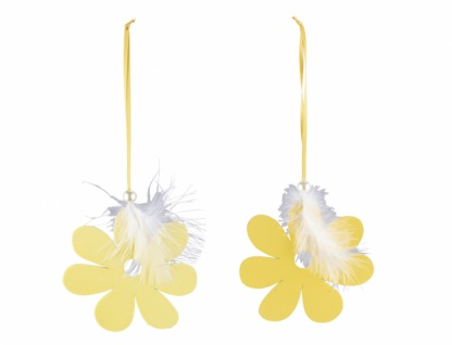 Holzhänger, Blume mit Federn, gelb, 2 Stück, 12 x 26 cm