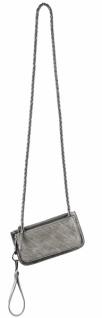 Handtasche, Kunstleder, silber, 12 x 23 x 1 cm