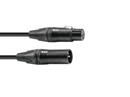 PSSO DMX Kabel XLR 3pol 1m sw Neutrik schwarze Stecker