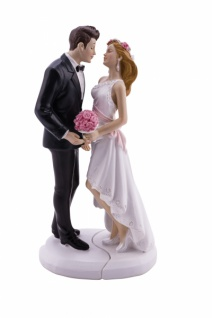 Brautpaar, 2 teiliges Set, Kunststoff, 6 x 5, 8 x 17, 8cm