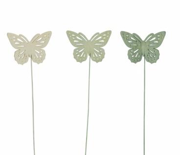 Holzstecker Schmetterling, 18 Stück, in Box, grün / gelb, 6 x 22 cm