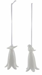Keramikhänger, Blüte mit Vogel / Schmetterling, weiß, 2 Stück, ø 5, 5cm / Höhe: 9, 5cm