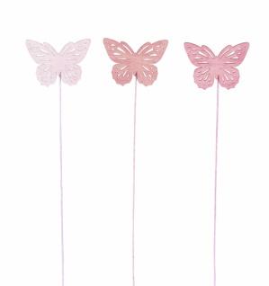 Holzstecker Schmetterling, rosa, 18 Stück, 6 x 22 cm