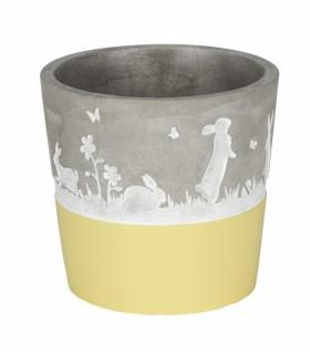 Zementtopf mit Hasen, grau / gelb
