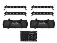 EUROLITE Set 4x LED BAR-6 QCL RGBA + 2x Soft Bag + Controller