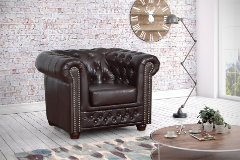 Chesterfield Sessel 1 Sitzer in Kunstleder Vintage braun Couch Polstersofa Sofa