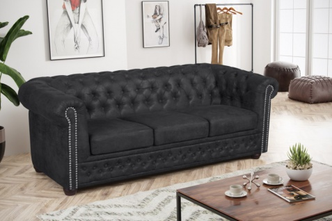 Edles Chesterfield Sofa 3 Sitzer Mikrofaser Vintage anthrazit Couch Polstersofa