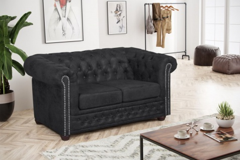 Edles Chesterfield Sofa 2 Sitzer Mikrofaser Vintage anthrazit Couch Polstersofa