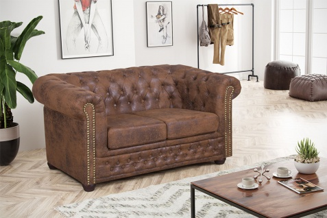 Edles Chesterfield Sofa 2 Sitzer in Mikrofaser Vintage braun Couch Polstersofa