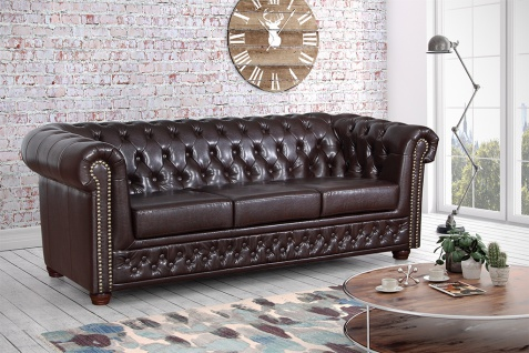 Edles Chesterfield Sofa 3 Sitzer in Kunstleder Vintage braun Couch Polstersofa