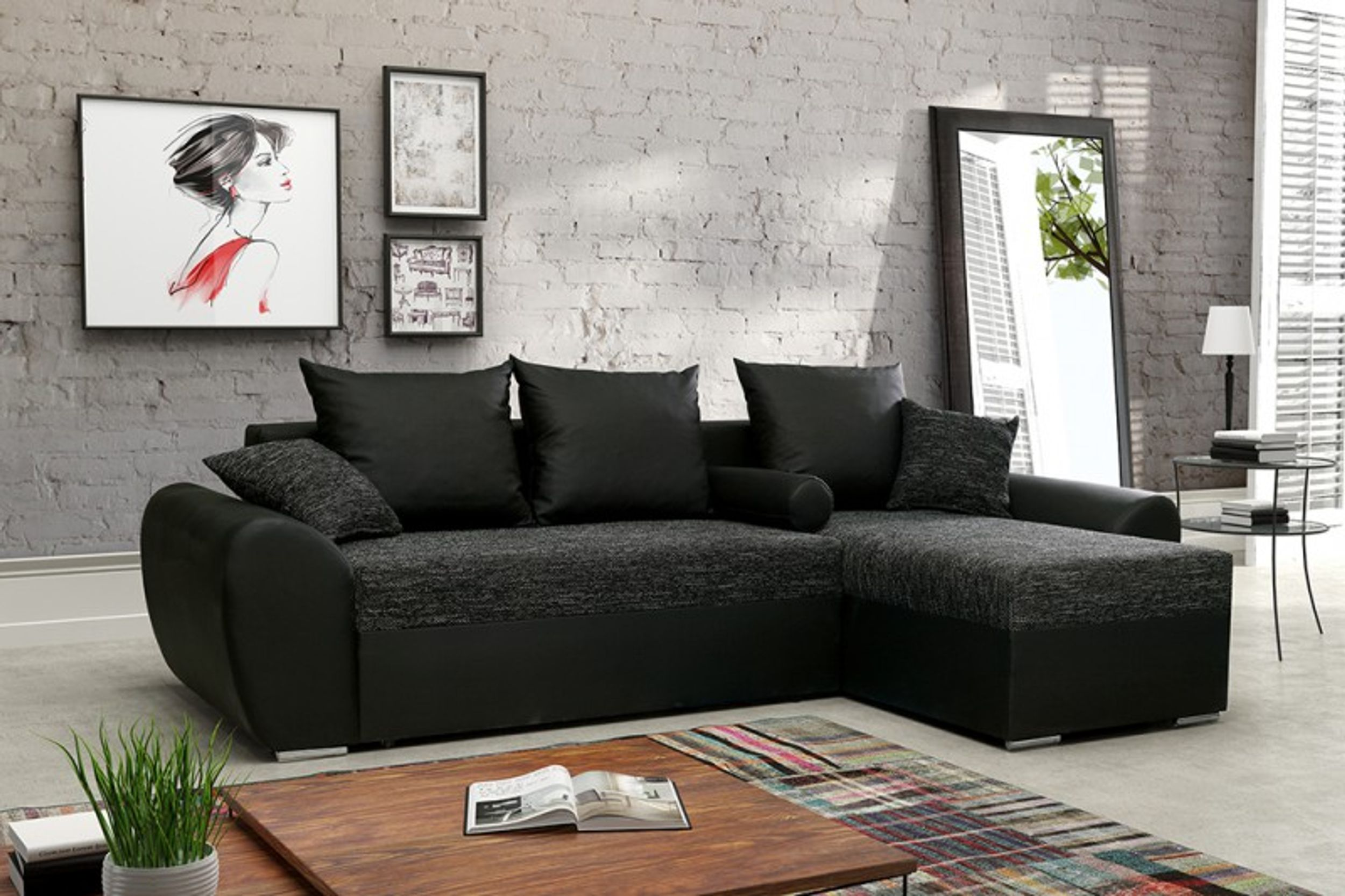 schlafsofa sofa couch ecksofa eckcouch schwarz. Black Bedroom Furniture Sets. Home Design Ideas