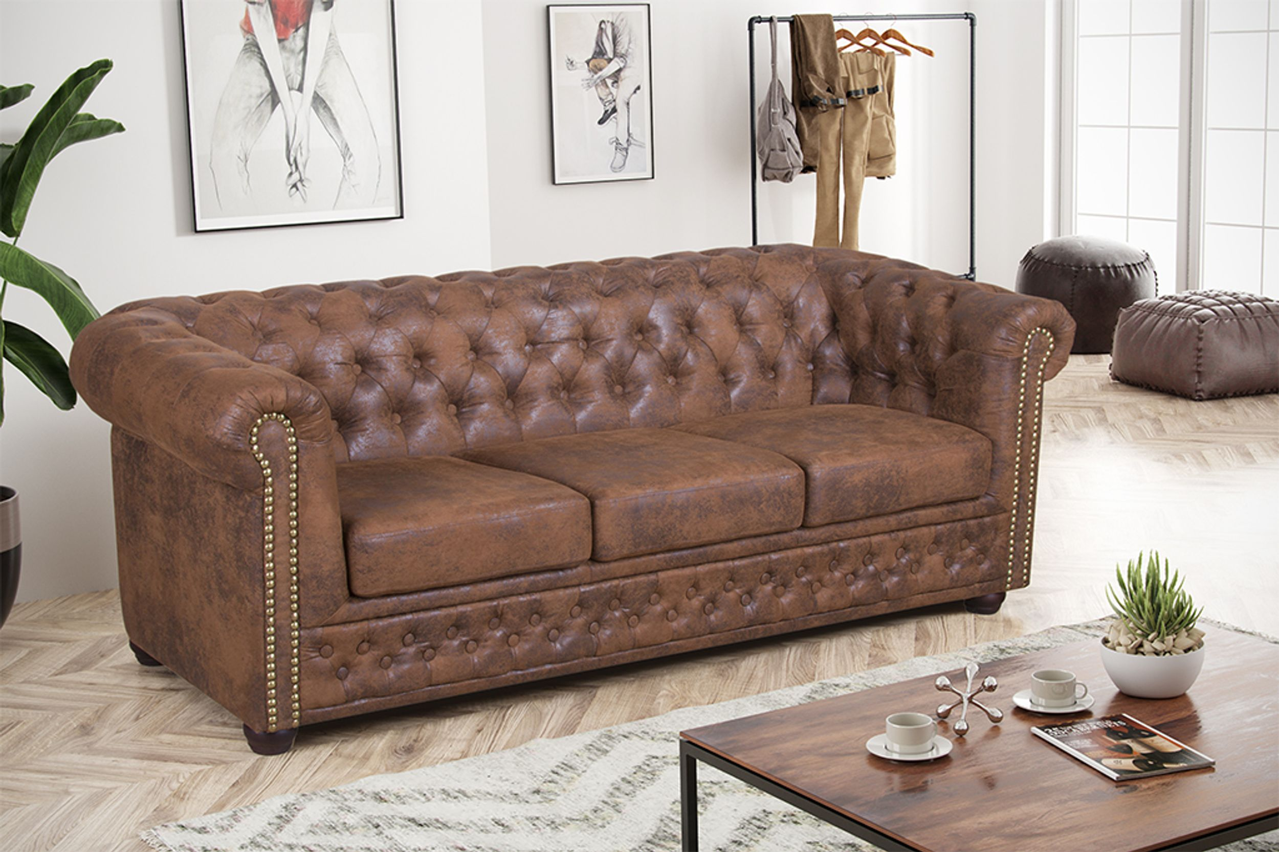 edles chesterfield sofa 3 sitzer in mikrofaser vintage braun couch polstersofa 1