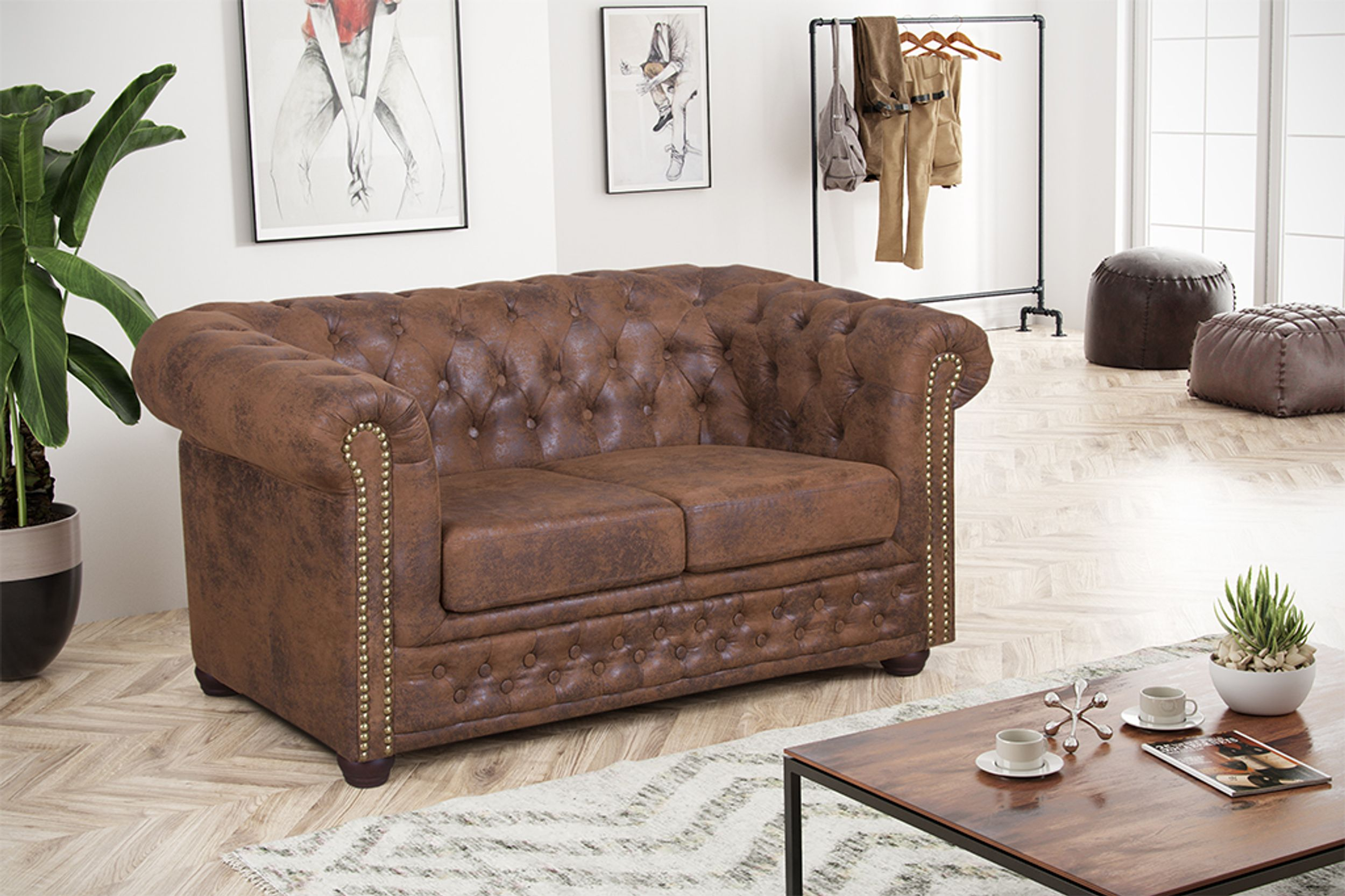 Edles Chesterfield Sofa 2 Sitzer in Mikrofaser Vintage