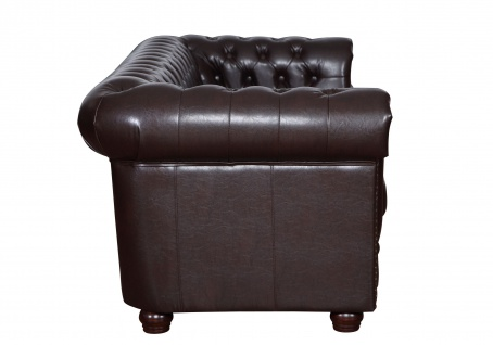 Edles Chesterfield Sofa 2 Sitzer in Kunstleder Vintage braun Couch Polstersofa 4