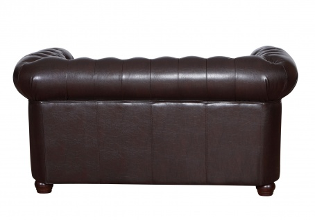 Edles Chesterfield Sofa 2 Sitzer in Kunstleder Vintage braun Couch Polstersofa 3