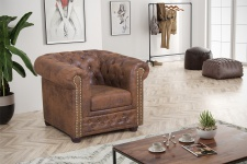 Top Chesterfield Sofa 1 Sitzer Mikrofaser Vintage braun Couch Polstersofa Sessel