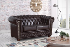 Edles Chesterfield Sofa 2 Sitzer in Kunstleder Vintage braun Couch Polstersofa