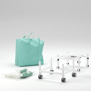 REISE-Profi 150 kg faltbarer Duschstuhl höhenverstellbar mit Rollen Toilettensitzerhöhung Toilettenstuhl - Vorschau 3