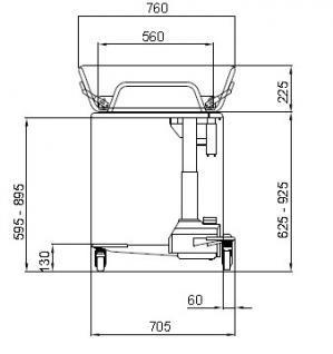 Kindergrösse 160 cm optimierte ÜBERFAHRBARKEIT hydraulisch Duschwagen Duschliege - Vorschau 2