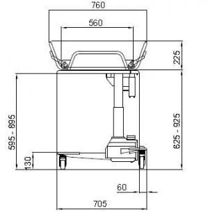 Duschwagen 190 cm optimierte ÜBERFAHRBARKEIT hydraulisch Duschliege Transportliege - Vorschau 2