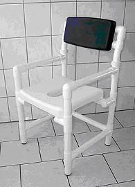 Badhocker 150 kg grosse Sitzfläche Duschhocker gepolsterte Rückenlehne - Vorschau 2