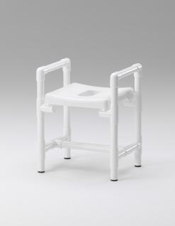 Badhocker 150 kg grosse Sitzfläche Duschhocker gepolstert Armlehnen - Vorschau 2