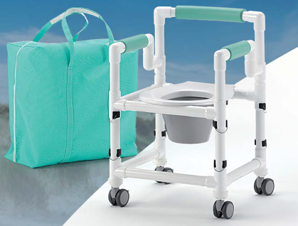 REISE-Profi 150 kg faltbarer Duschstuhl höhenverstellbar mit Rollen Toilettensitzerhöhung Toilettenstuhl