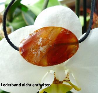 Feuerachat (beh.), ovale, facettierte Freeform, gebohrt