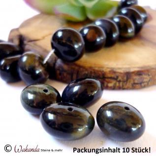 Falkenauge Nuggets (Pebbles) gebohrt, 10er-Pack, ca. 10 x 14 mm